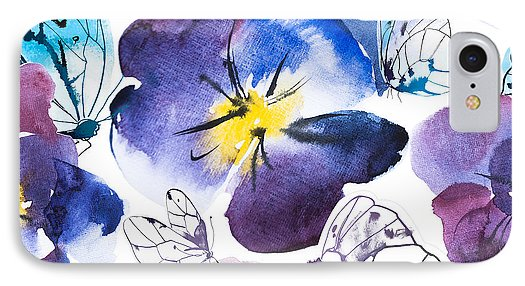 Pansy And Butterflies - Phone Case