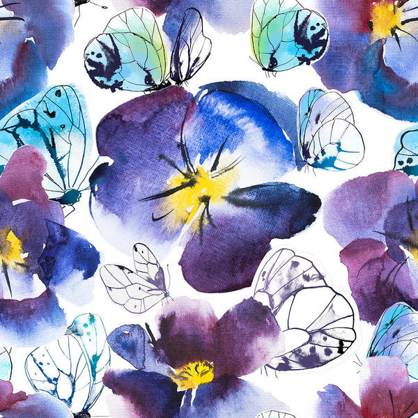 Pansy And Butterflies - Art Print