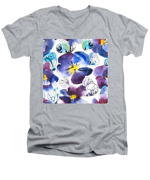 Pansy And Butterflies - Men's V-Neck T-Shirt