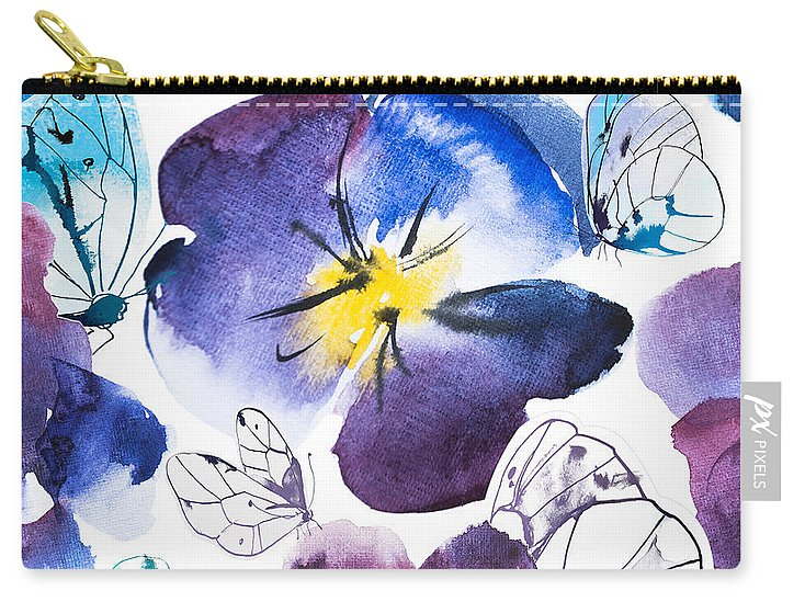 Pansy And Butterflies - Carry-All Pouch