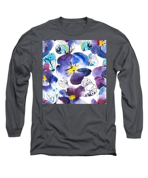 Pansy And Butterflies - Long Sleeve T-Shirt