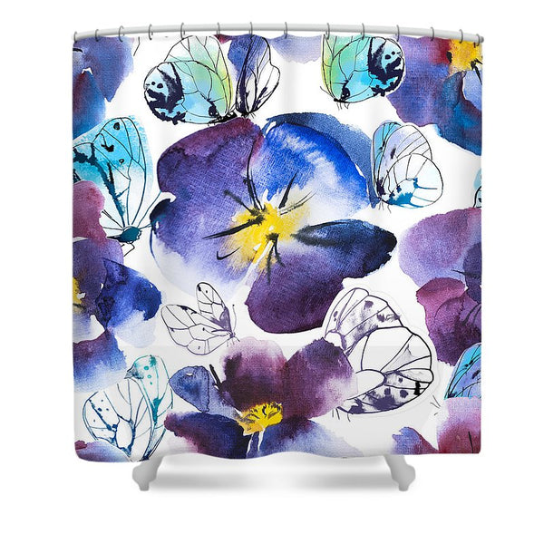 Pansy And Butterflies - Shower Curtain