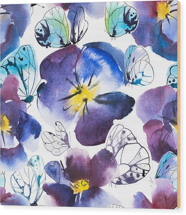 Pansy And Butterflies - Wood Print