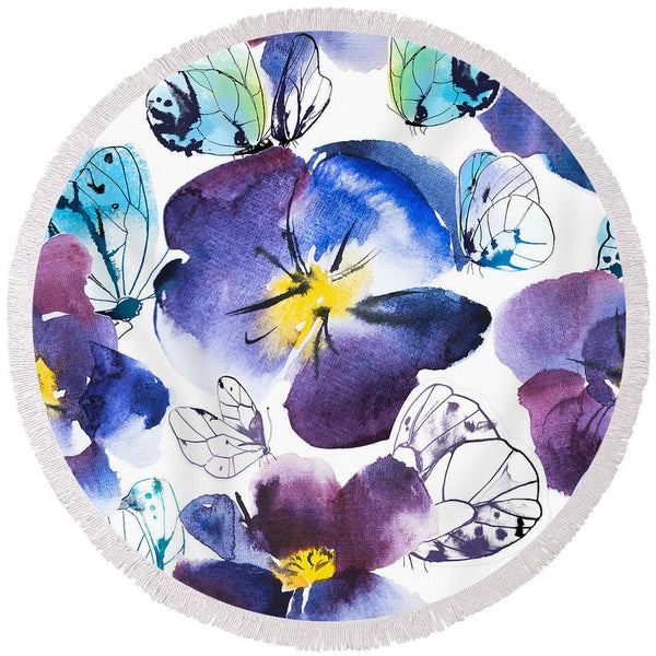 Pansy And Butterflies - Round Beach Towel