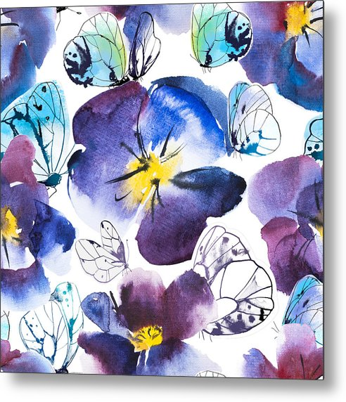 Pansy And Butterflies - Metal Print