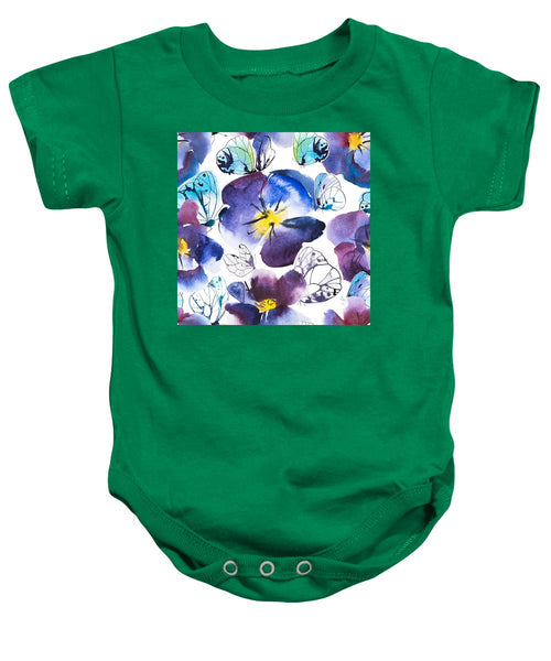 Pansy And Butterflies - Baby Onesie
