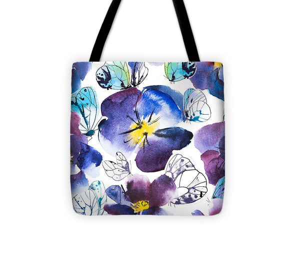 Pansy And Butterflies - Tote Bag