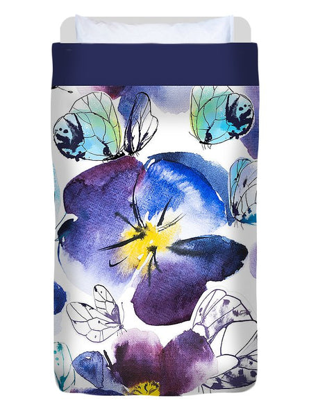 Pansy And Butterflies - Duvet Cover
