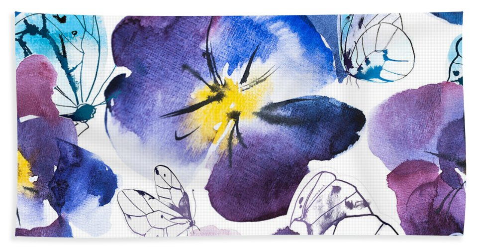 Pansy And Butterflies - Bath Towel