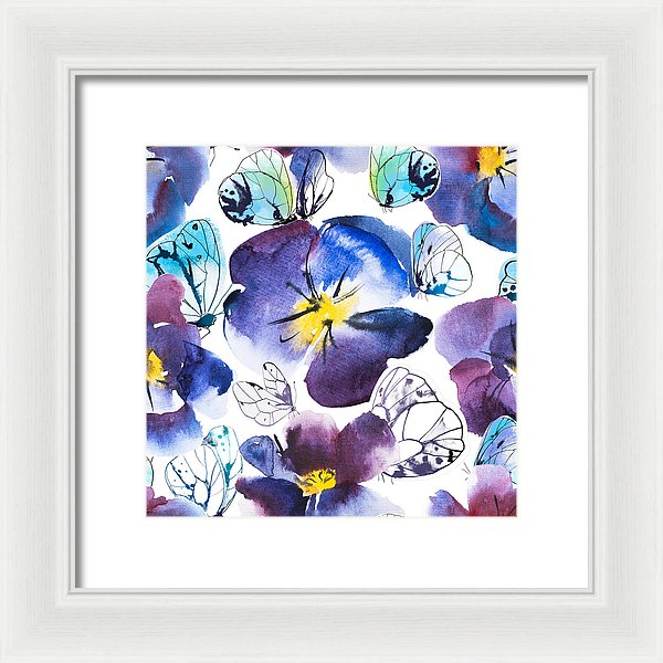 Pansy And Butterflies - Framed Print