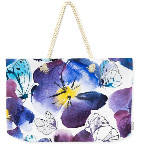 Pansy And Butterflies - Weekender Tote Bag