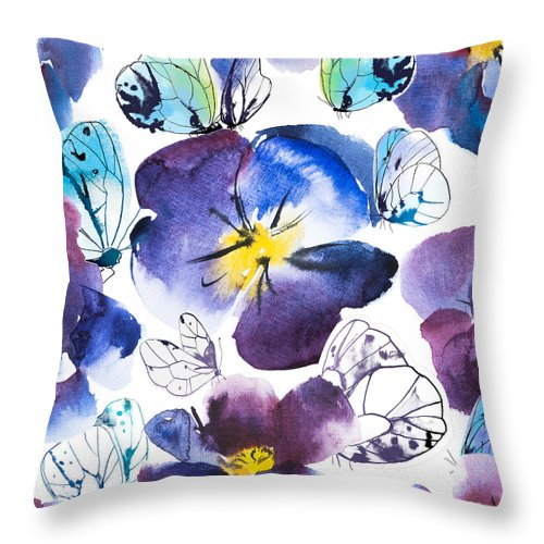 A Pansy And Butterflies - Throw Pillow