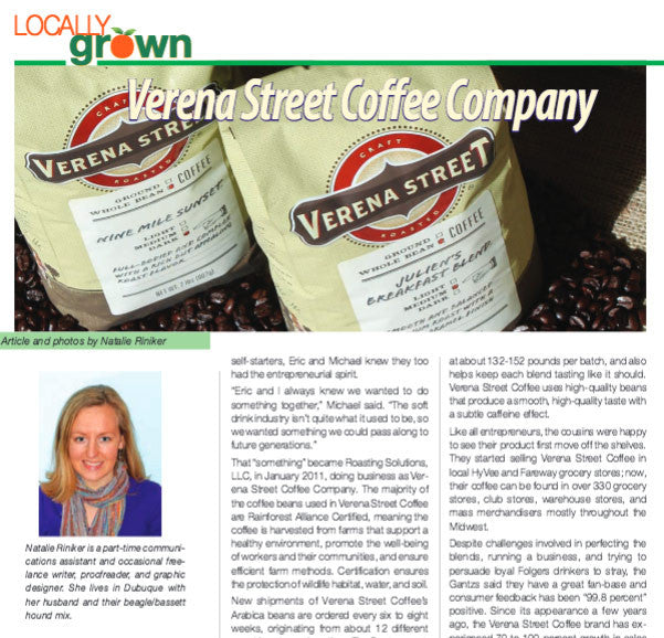 Verena Street Coffee Co. featured in October 2013 Julien's Journal article