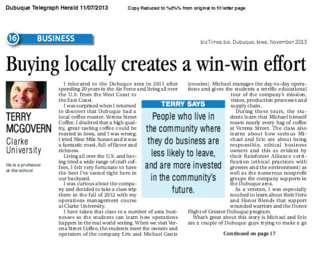 Buying locally creates a win-win effort