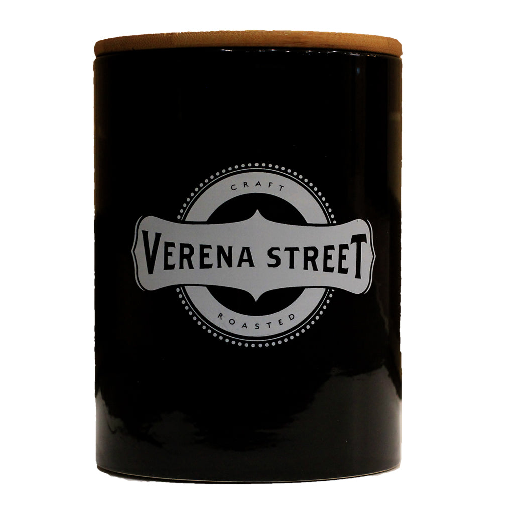 Ceramic AirScape Coffee Canister with Bamboo Lid (1lb) - Verena Street Coffee Co.