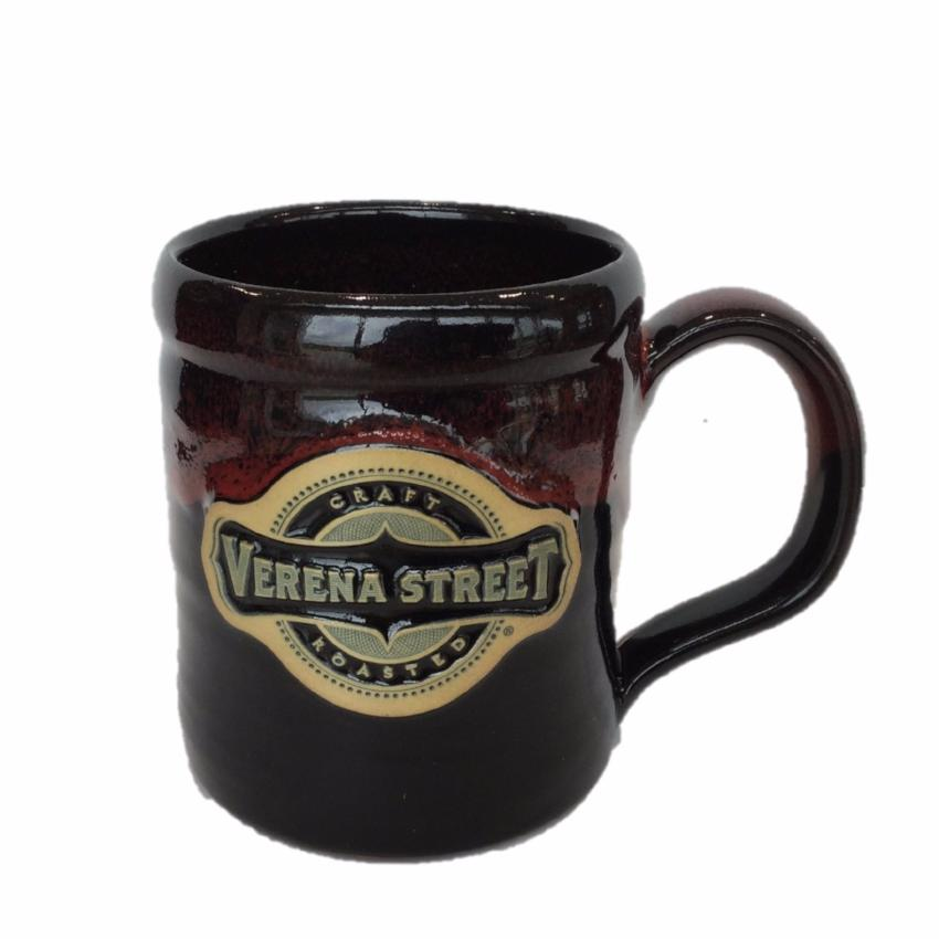 14oz Camper Mug Black with Red Glaze - Custom Hand Thrown Pottery - Verena Street Coffee Co.