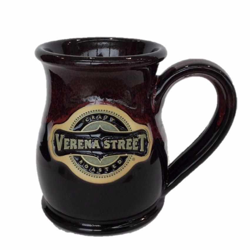 14oz Tall Belly Mug Black with Red Glaze - Custom Hand Thrown Pottery - Verena Street Coffee Co.
