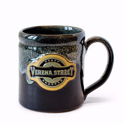 14oz Camper Mug Black with Dijon Glaze - Custom Hand Thrown Pottery - Verena Street Coffee Co.