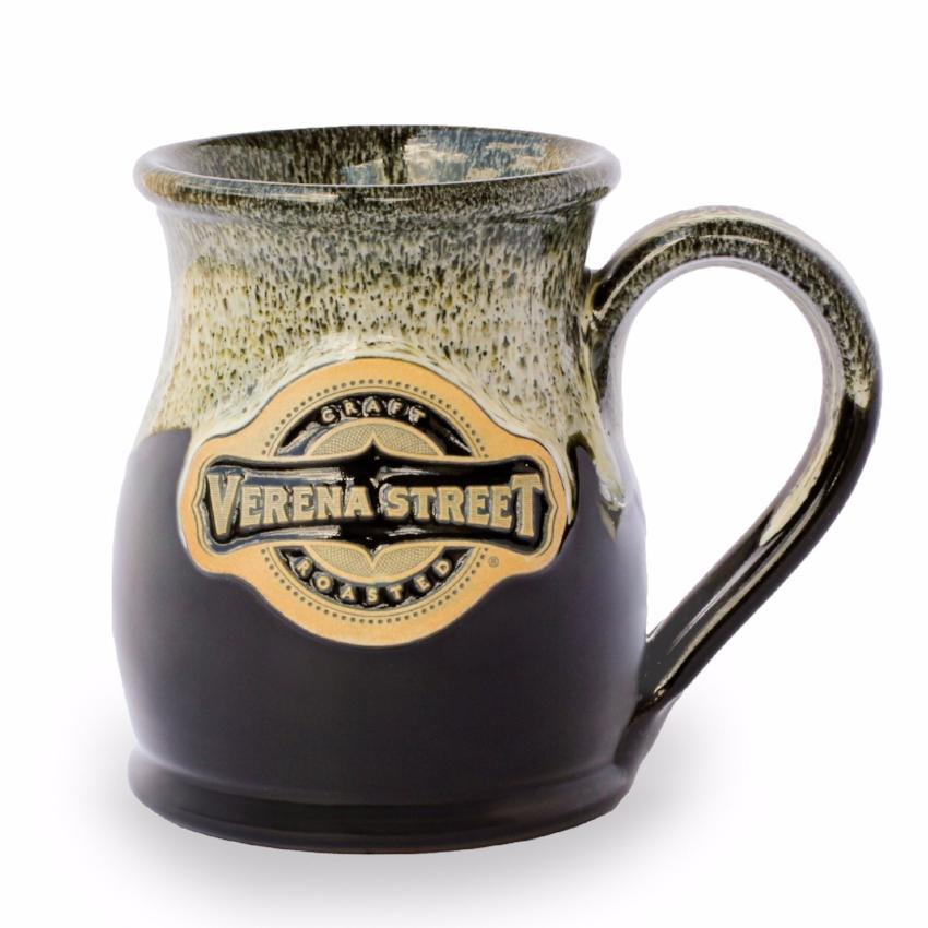 14oz Tall Belly Mug Black with Dijon Glaze - Custom Hand Thrown Pottery - Verena Street Coffee Co.