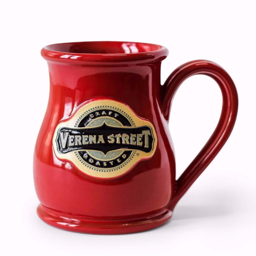 14oz Tall Belly Mug Red Glaze - Custom Hand Thrown Pottery - Verena Street Coffee Co.