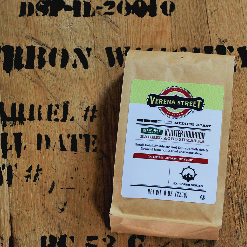 Knotter Bourbon Barrel Aged Sumatra, whole bean coffee (limited release - Batch #3) - Verena Street Coffee Co.
