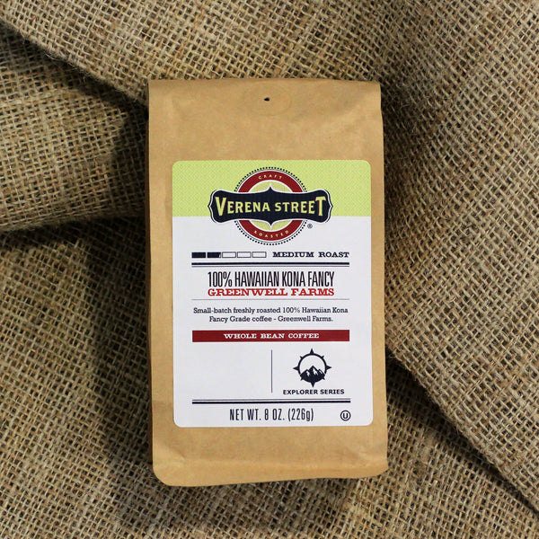 100% Hawaiian Kona Fancy- Greenwell Farms, whole bean coffee (limited release) - Verena Street Coffee Co.