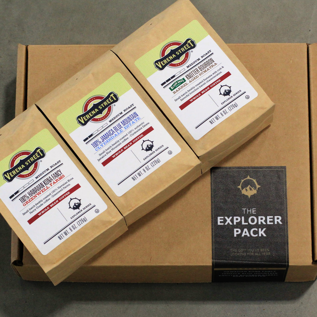 Explorer Pack Trio 8oz whole bean 3pk of Rare Coffee - Verena Street Coffee Co.