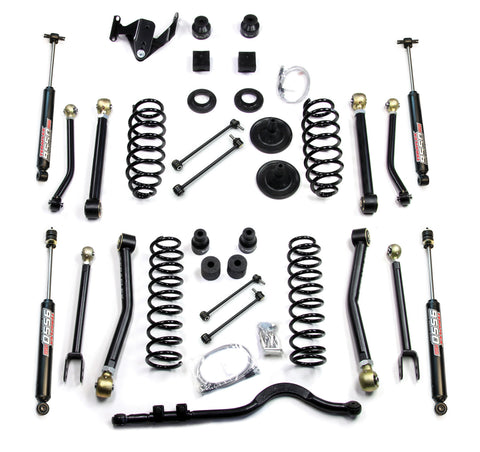 JK 4 Door 4 Inch Lift Kit W/8 FlexArms Trackbar And 9550 Shocks 07-Pres Wrangler JK Unlimited TeraFlex