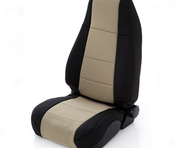 Neoprene Seat Cover Rear 97-02 Wrangler TJ Black/Tan Smittybilt
