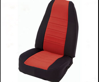 Neoprene Seat Cover Rear 97-02 Wrangler TJ Black/Red Smittybilt