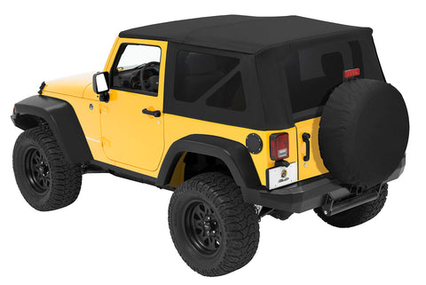 Jeep JK Replace-A-Top Sailcloth For Full Steel Doors Tinted Windows 07-09 Wrangler JK 2-Door Black Diamond Kit Bestop