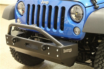 "Rock Hard 4x4 Patriot Series Grille Width ""Stubby"" Front Bumper w/Lowered Winch Plate w/o Fog Lights for Jeep Wrangler JK 2/4DR 2007 - 2016 [RH-5002]"
