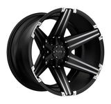 TUFF T-12 26x12.0 5/114.3/127 ET-45 CB78.1 SATIN BLACK W/ MILLED SPOKES