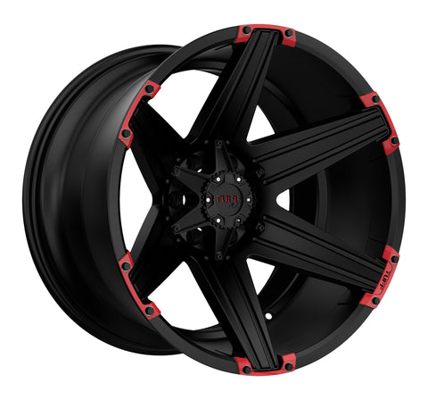 TUFF T-12 20x10.0 5/114.3/127 ET-19 CB78.1 SATIN BLACK W/ RED INSERTS