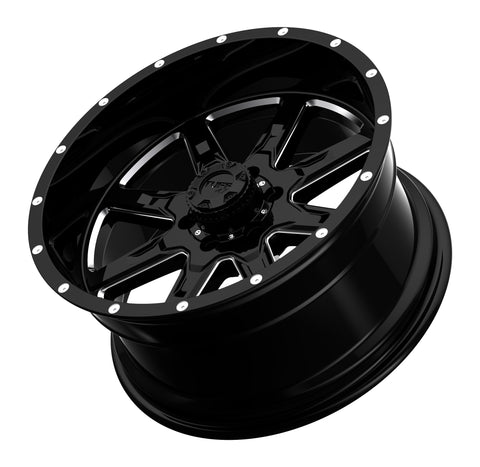 TUFF T-15 22x10.0 5/127 ET-19 CB78.1 GLOSS BLACK W/MILLED SPOKES