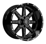 TUFF T-15 18x10.0 5/114.3 ET-13 CB74.1 SATIN BLACK W/GLOSS BLACK LIP