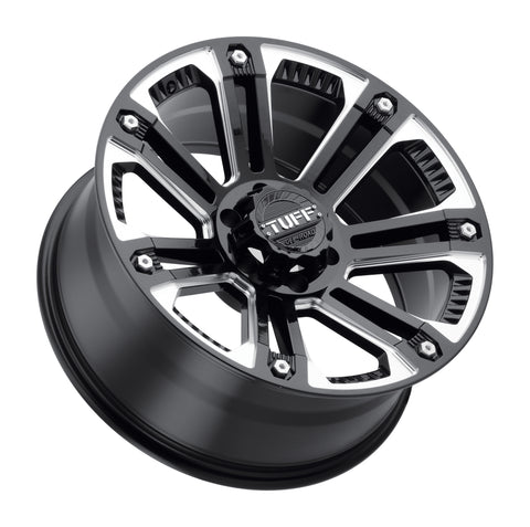 TUFF T-22 20x9.0 5/127/139.7 ET-13 CB78.1 GLOSS BLACK W/ MILLED SPOKES AND STAINLESS STEEL BOLTS