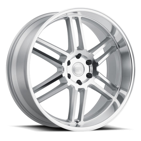 BLACK RHINO KATAVI 22X10 5/114.3 ET30 CB76.1 SILVER W/MIRROR CUT FACE AND LIP