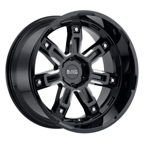 BLACK RHINO LOCKER 22X11.5 5/127 ET-44 CB71.6 GLOSS BLACK W/MILLED SPOKES
