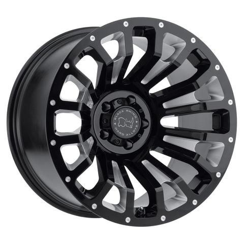 BLACK RHINO PINATUBO 18x9.5 5/127 ET-18 CB71.6 GLOSS BLACK W/MILLED INSIDE WINDOW