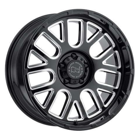 BLACK RHINO PISMO 20x12.0 5/127 ET-44 CB71.6 GLOSS BLACK W/MILLED SPOKES