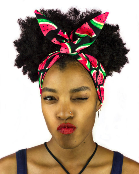 Red, Pink, Green and Black, with Watermelon Print Wire Headband