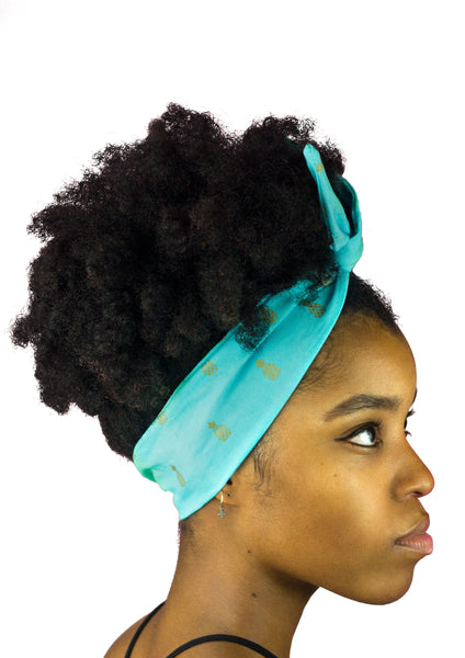 Turquoise and Blue with Gold Pineapples Print, Wire Headband