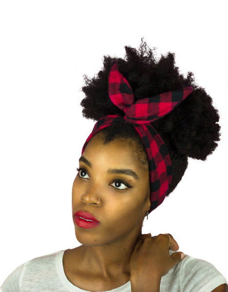 Red and Black Plaid Cotton Wire Headband