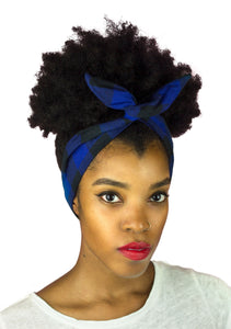 Blue and Black Plaid Cotton Wire Headband