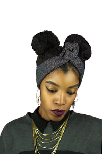 Midnight Blue and Gold Shimmer  Wire Headband
