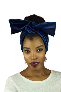 Blue Crushed Velvet Wire Headband