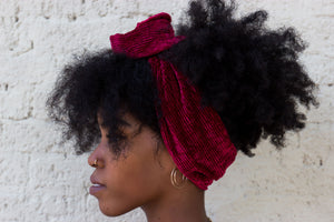 Burgundy Crushed Velvet Wire Headband