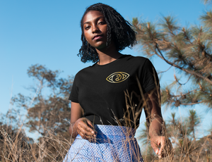 gold foil black t-shirt