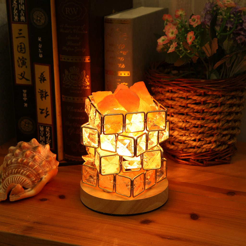 Himalayan Salt Lamp in Crystal Basket with Dimmer